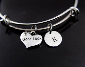 Good Luck Bracelet Silver Good Luck Charm Bangle Good Luck Charm Good Luck Jewelry Good Luck Gift Personalized Bangle Initial Bracelet