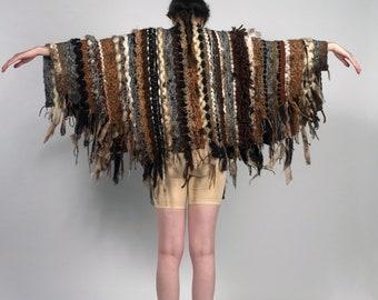 Handmade woven wool cape cloak robe shawl costume