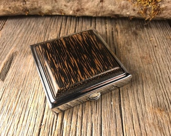 Wooden Make up mirror / Compact case: Black Palm