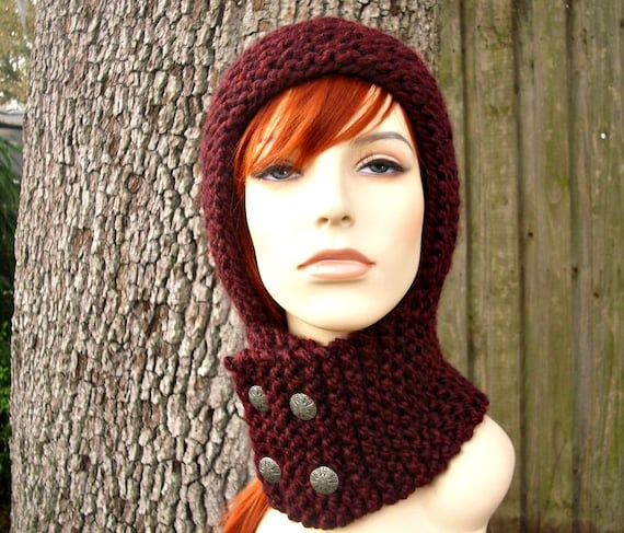 Knit Hat Womens Hat Knit Hood - Warrior Helmet Balaclava in Oxblood Wine Red Knit Hat - Red Hat Red Hood Wine Hood Womens Accessories