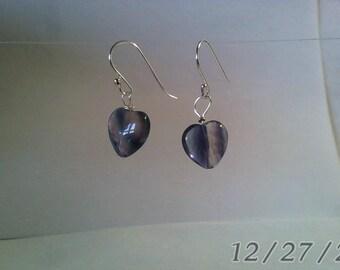 12 x 12 mm Fluorite Hearts  Dangled on 925 Sterling silver  Earrings
