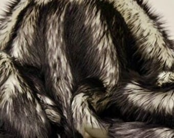 King Queen Twin Bedspread black shaggy tips Exotic Blanke Throw Faux Fur Comforters Bedding Decor Luxurious Contemporary Modern Handmade