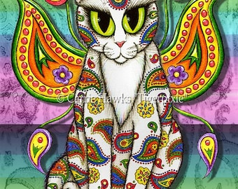 Psychedelic Fairy Cat Art Rainbow Whimsical Paisley Cat Painting Hippie Big Eye Art Fantasy Cat Art Print 5x7 Cat Lovers Art