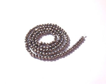 Silver Hematite: 10 faceted 3 mm in diameter
