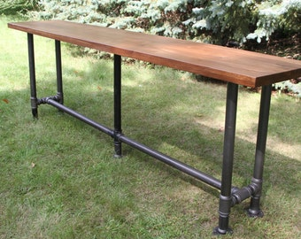 The Foundry Table Reclaimed Bar Table Hardwood Solid American Black Walnut Bar Table Pub Table Conference Table Walnut Table Walnut Desk