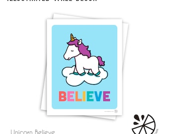 Cute Unicorn Believe Inspirational Print Room Decor