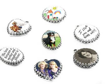 Custom Photo Charm, Personalized Heart Charm, Photo Oval Charm, Picture Round Charm, Just the Charm, Sterling Silver