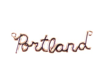 Rose Gold Plated Portland Wire Name Pendant (1X) (K622-D)