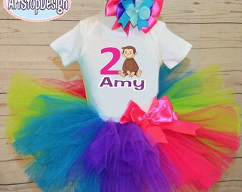 Curious George birthday outfit,FREE SHIPPING,tutu outfit,birthday girl,colorful tutu,colorful outfitt,Curious George birthday tutu set