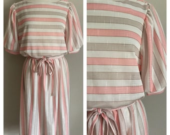 80s Sheer Taupe and Salmon Striped Dress
