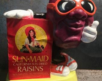 Vintage Sun Maid California Raisins 1987 Vinyl Raisin Bank // 80s toys // toy bank // vintage bank