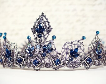Renaissance Bridal Tiara, Blue Tiara, Elizabethan, Medieval Crown, Custom Wedding Tiara, Bridal Headpiece, Renaissance Wedding Ready to Ship