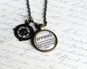 FERNWEH definition pendant, travel jewelry, wanderlust necklace