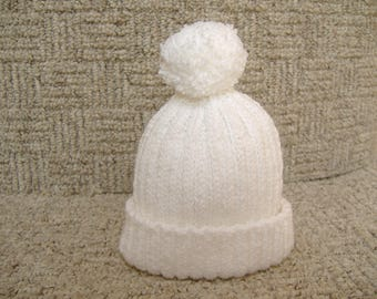 Bobble Hat, Childrens' Ribbed Woolly Cap