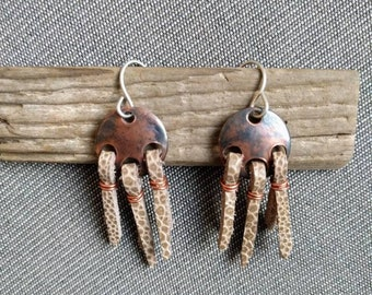 Boho-style leather fringe earrings, Copper disc and leather earrings, InnerSunCreations