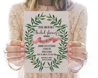 Printed Or Printable Bridal Shower Invitation // Watercolor Wreath