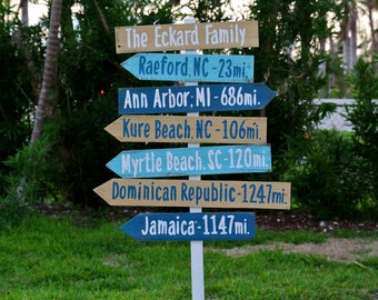 Mother's Day Family name sign Gift Idea. Directional Mileage Garden Decoration Sign, Rustic Wood Destination sign post
