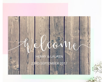 Wedding welcome sign / Welcome wedding sign / Wooden sign / Wedding decor / Rustic wedding / Wood wedding signs / Personalized