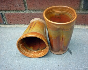 Sedona Pottery Tumbler,Organic Pottery Cup, Handless Pottery Mug, Brown, Orange, Ochre, Red 2@F 1@H