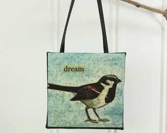 Sparrow Bird Ornament, DREAM Whimsical Wild Bird Word Inspirational Art Mini Wall Hanging