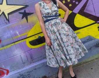 Picnic in the Park Dress in Patchwork, Vintage Fabric 1950s Style Wrap Dress