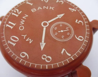 vintage My Own Bank miniature plastic clock bank vintage learning toy teacher teaching toy tool to learn to tell time analog clock for kids