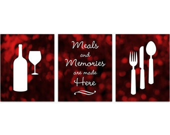 Attrayant Red And Black Kitchen Art, INSTANT DOWNLOAD, Fork Spoon Knife Art, Wine Art  Print, Dining Room Art, Red Kitchen Wall Art   HOME128
