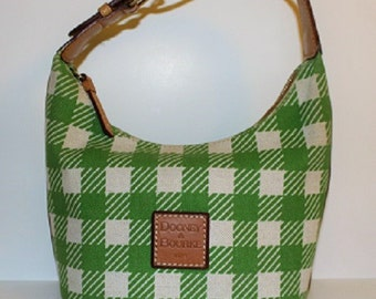 Vintage; Dooney and Bourke; Legacy Greeen Houndstooth; Canvas & Leather Trim; Madras Bucket Bag; 313040