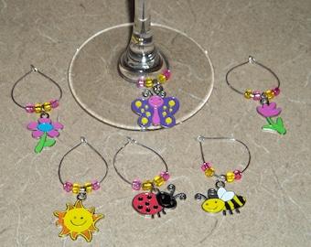 6 piece Spring/Summer wine charm set