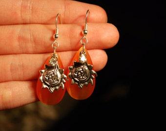 Blazing Hot Sun Earrings -- Bright Orange Teardrops, Silver Sun Pendants