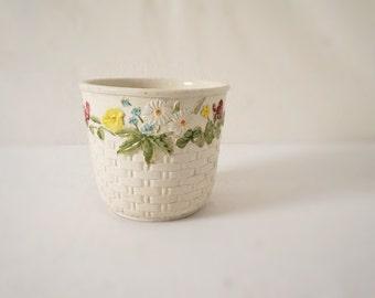 Vintage White Basket Weave Ceramic Planter Pot