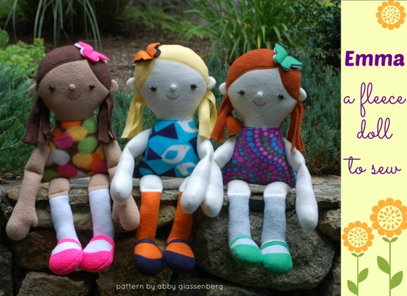 Emma a fleece doll to sew with easy-to-follow instructions