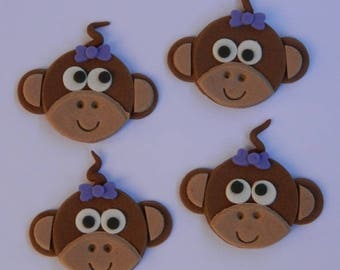 12 edible CHEEKY MONKEY FACES  cupcake cake topper decorations baby shower wedding birthday engagement anniversary jungle cute