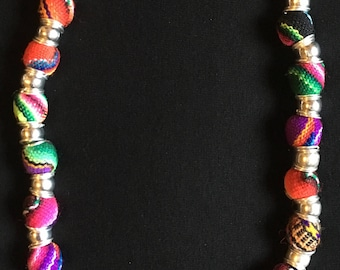 Beautiful Peruvian hand woven balls  necklace