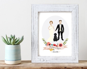 Custom Wedding Portrait Illustration | Couple Portrait | | Unique Wedding Gift | Anniversary Gift | Personalized Gift | Gift for Newlyweds