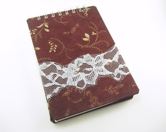 5 x 7 art journal, blank sketchbook, watercolor, burgundy, leaves, lace accent, spiral bound book, fabric notebook cover, travel journal