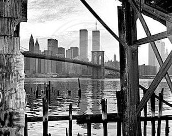 The Brooklyn Bridge, World Trade Center, New York City Skyline, NYC