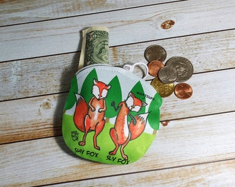 Coin Purse Fox 4x4 Round Shy Fox Sly Fox Wallet for Coins Earbuds Gift Cards Makeup