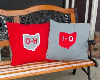 State of Ohio decorative pillow covers - Sports Team Fan Decor - Two accent pillows - 16 by 16 pillows - Man Cave throw pillows