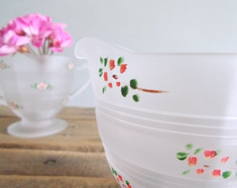 Frosted Floral Painted Creamer and Sugar Bowl