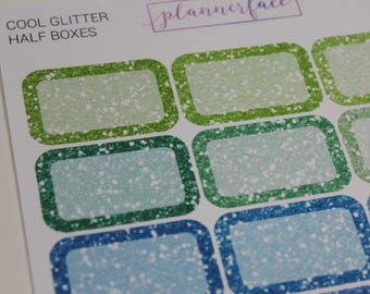 Glitter Half Boxes - COOL | Multicolour Rainbow Functional Stickers for Erin Condren (M014)