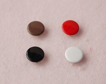 100 sets, Black, White Brown, Red Shade (4 Colors) Capped Prong Snap Button, Size 18L (11.3 mm)