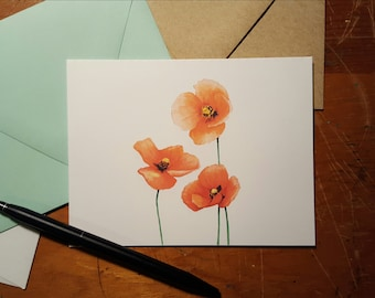Poppies Folded Note 10 Pack