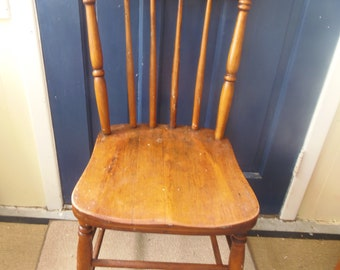 Vintage STAINED WOOD SPINDLE, Pressed Back Chair
