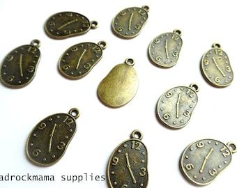 Antique Bronze Clock Wobbly Time Charms Pendants 23x14mm    -A4B1-3