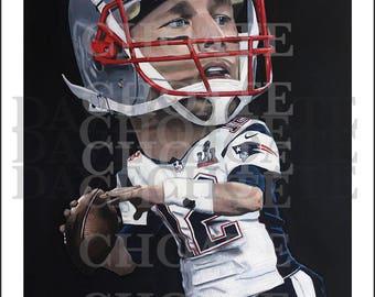 Tom Brady, New England Patriots. Art Print