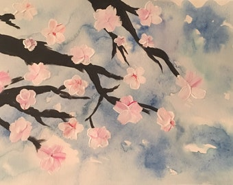 Cherry blossom original watercolor and acrylic painting