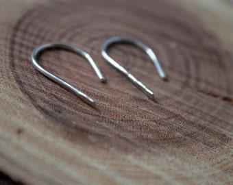 Minimalist Silver Hoops - Open Hoop Earrings, Simple Silver Earrings,  Everyday Earrings, Christmas Gift, Dainty Earrings, Gift for Her