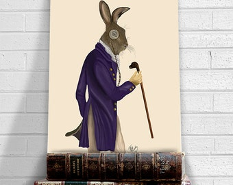 Hare Print - Hare in Purple Coat  - Hare picture Hare wall art Hare poster hare art print Rabbit décor Bunny wall décor Rabbit Print