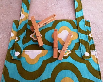 Clothespin Bag- Turquoise Medallion